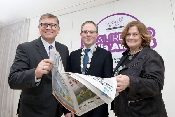 NO REPRODUCTION FEE: Attending the Launch of the 5th Annual Local Ireland Media Awards, sponsored by the National Lottery were from left; Michael Hayes, Head of Marketing, National Lottery, David Ryan, President Local Ireland and Managing Director, Nenagh Guardian, Dr. Jane Suiter, Chair, judging panel. Pic: Mac Innes Photography