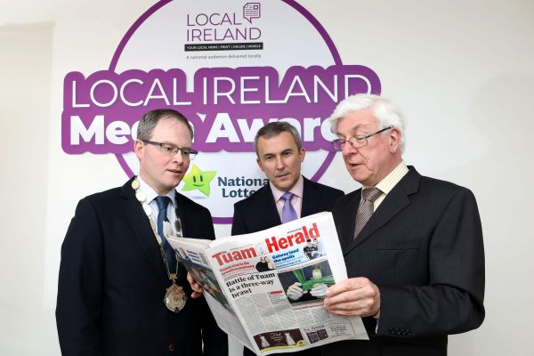 NO REPRODUCTION FEE: Attending the Launch of the 5th Annual Local Ireland Media Awards, sponsored by the National Lottery were from left; David Ryan, President Local Ireland and Managing Director, Nenagh Guardian, Paul Bradley, Head of Corporate Communications and PR  National Lottery and David Burke, Managing Director, Tuam Herald. Pic: Mac Innes Photography