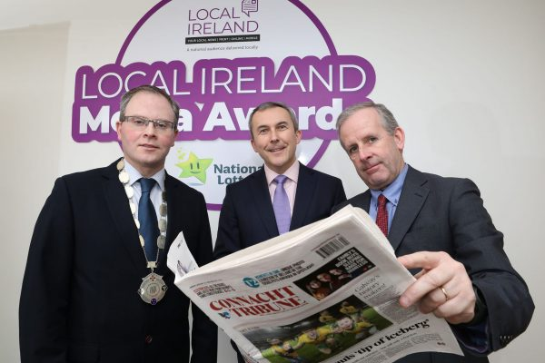 NO REPRODUCTION FEE: Attending the Launch of the 5th Annual Local Ireland Media Awards, sponsored by the National Lottery were from left; David Ryan, President Local Ireland and Managing Director, Nenagh Guardian, Paul Bradley, Head of  Corporate Communications and PR National Lottery and Declan McGuire, General Manager, Connacht Tribune. Pic: Mac Innes Photography