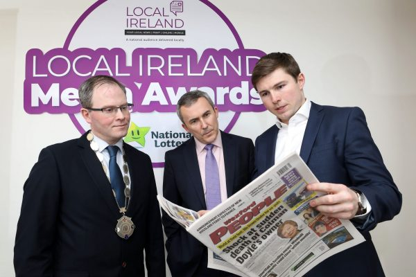 NO REPRODUCTION FEE: Attending the Launch of the 5th Annual Local Ireland Media Awards, sponsored by the National Lottery were from left; David Ryan, President Local Ireland and Managing Director, Nenagh Guardian, Paul Bradley, Head of Corporate Communications and PR  National Lottery and David O'Sullivan, INM regional newspapers. Pic: Mac Innes Photography