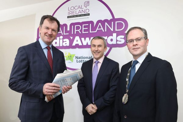 NO REPRODUCTION FEE: Attending the Launch of the 5th Annual Local Ireland Media Awards, sponsored by the National Lottery were from left; Frank Mulrennan, CEO, Celtic Media Group, Paul Bradley, Head of Corporate Communications and PR National Lottery and David Ryan, President Local Ireland and Managing Director, Nenagh Guardian. Pic: Mac Innes Photography