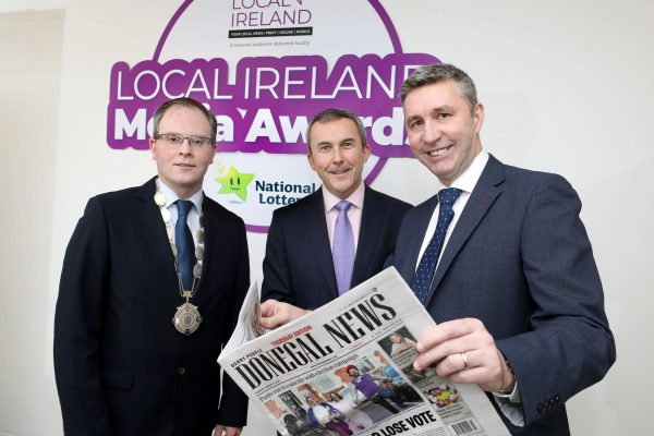 NO REPRODUCTION FEE: Attending the Launch of the 5th Annual Local Ireland Media Awards, sponsored by the National Lottery were from left; David Ryan, President Local Ireland and Managing Director, Nenagh Guardian, Paul Bradley, Head of Corporate Communications and PR National Lottery and Dominic McClements, Managing Director, NorthWest News Group. Pic: Mac Innes Photography