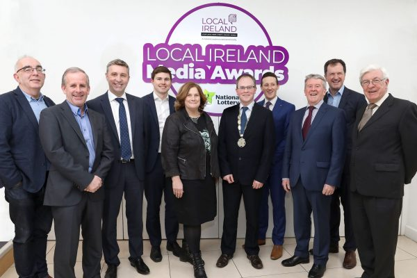 NO REPRODUCTION FEE: Attending the Launch of the 5th Annual Local Ireland Media Awards, sponsored by the National Lottery were from left; Dan Linehan, Managing Director, Irish Times Regional Newspapers, Declan McGuire, General Manager, Connacht Tribune, Dominic McClements, Managing Director, NorthWest News Group, David O'Sullivan, INM Regional Newspapers, Dr Jane Suiter, DCU and Chair judging panel, David Ryan, President Local Ireland and Managing Director, Nenagh Guardian, Robert Magee, PR Executive,  National Lottery, Johnny O'Hanlon, Director, Local Ireland, Frank Mulrennan, CEO, Celtic Media Group, David Burke, Managing Director, Tuam Herald. Pic: Mac Innes Photography