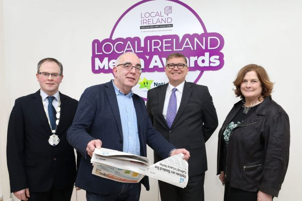 NO REPRODUCTION FEE: Attending the Launch of the 5th Annual Local Ireland Media Awards, sponsored by the National Lottery were from left; David Ryan, President Local Ireland and Managing Director, Nenagh Guardian, Dan Linehan, Manging Director, Irish Times Regional Newspapers, Michael Hayes, Marketing Manager, National Lottery, Dr. Jane Suiter, Chair, judging panel.  Pic: Mac Innes Photography