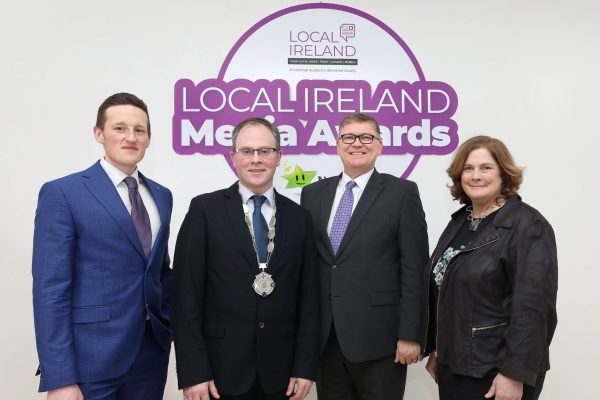 NO REPRODUCTION FEE: Attending the Launch of the 5th Annual Local Ireland Media Awards, sponsored by the National Lottery were from left; Robert Magee, PR Executive, National Lottery,  David Ryan, President Local Ireland and Managing Director, Nenagh Guardian, Michael Hayes, Head of Marketing, National Lottery, Dr. Jane Suiter, Chair, judging panel. Pic: Mac Innes Photography